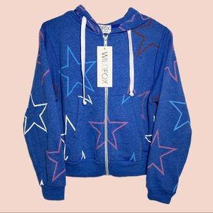 Wildfox Blue Star Zip Up Hoodie Jacket Size XS